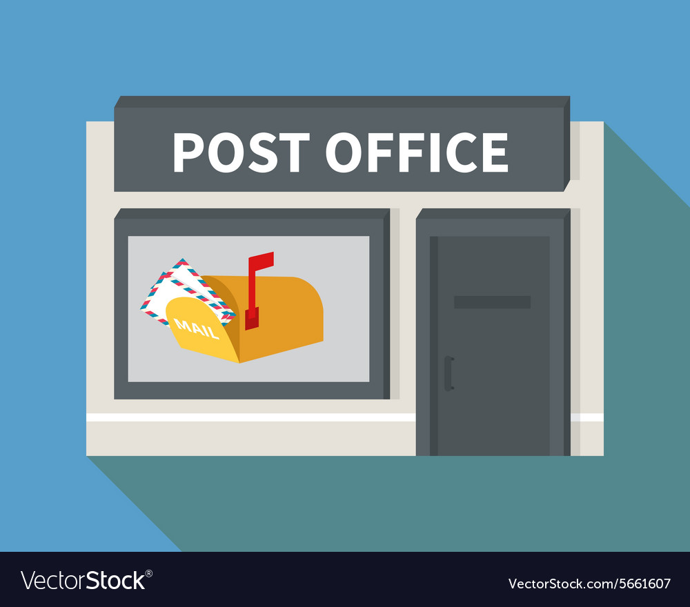 Flat post office and mail box vector