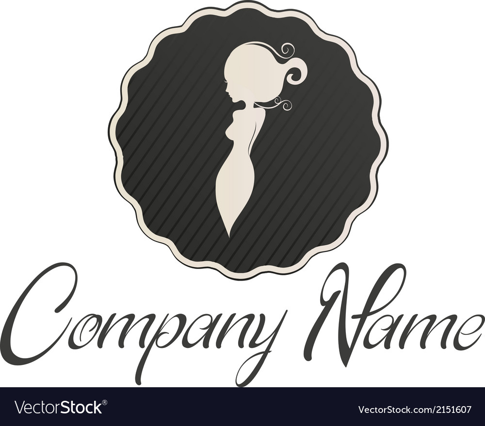 Lady logo circle vector