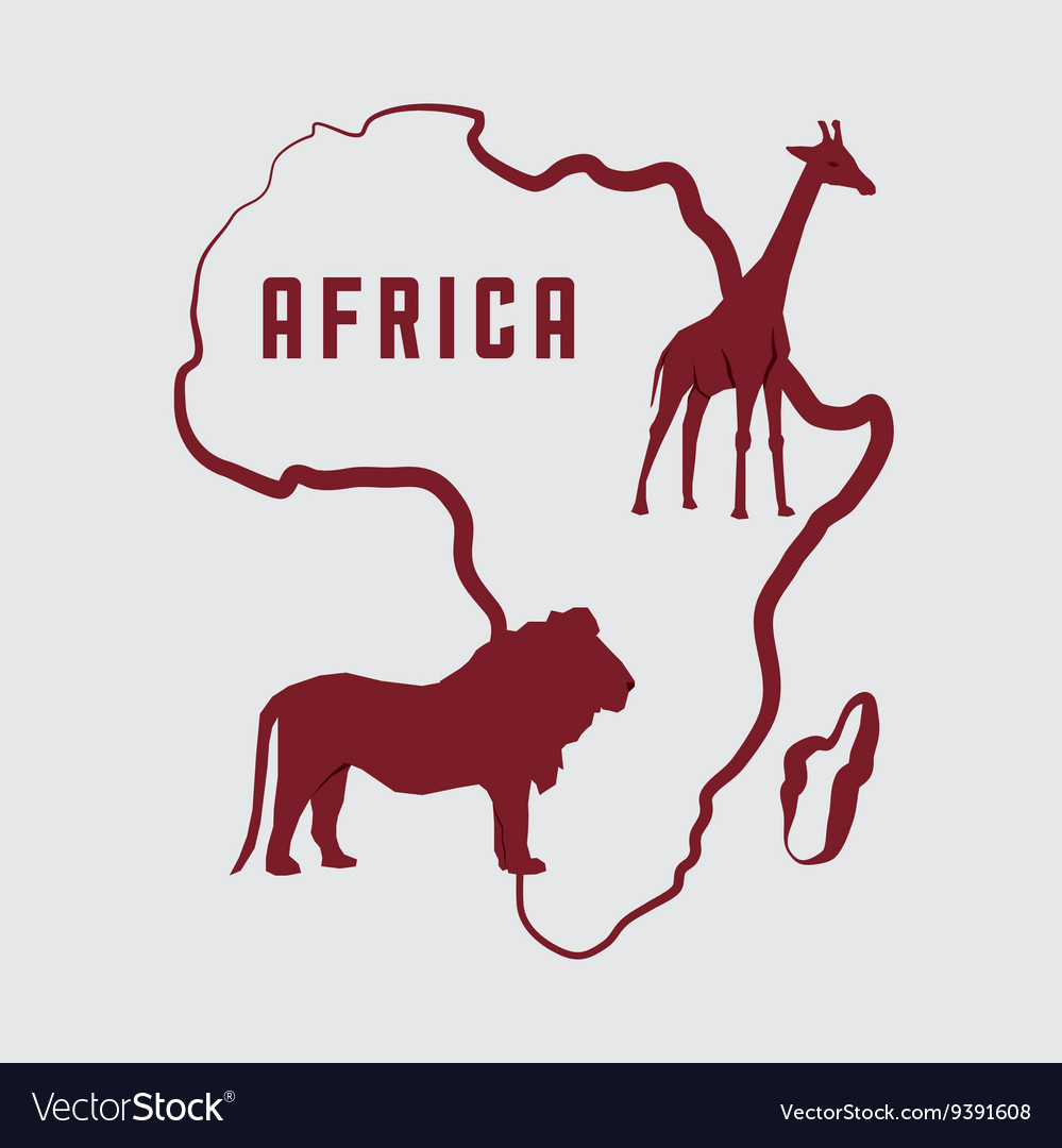 Africa design map shape icon animals vector