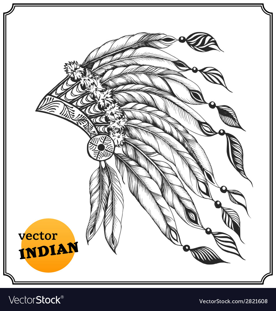 Indian chieftain headdress with feathers vector