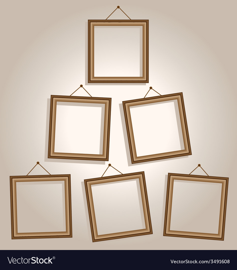 Six frames on wall on brown vector