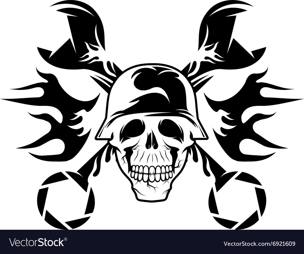 Bikers theme emblem with skullflames and wrenches vector