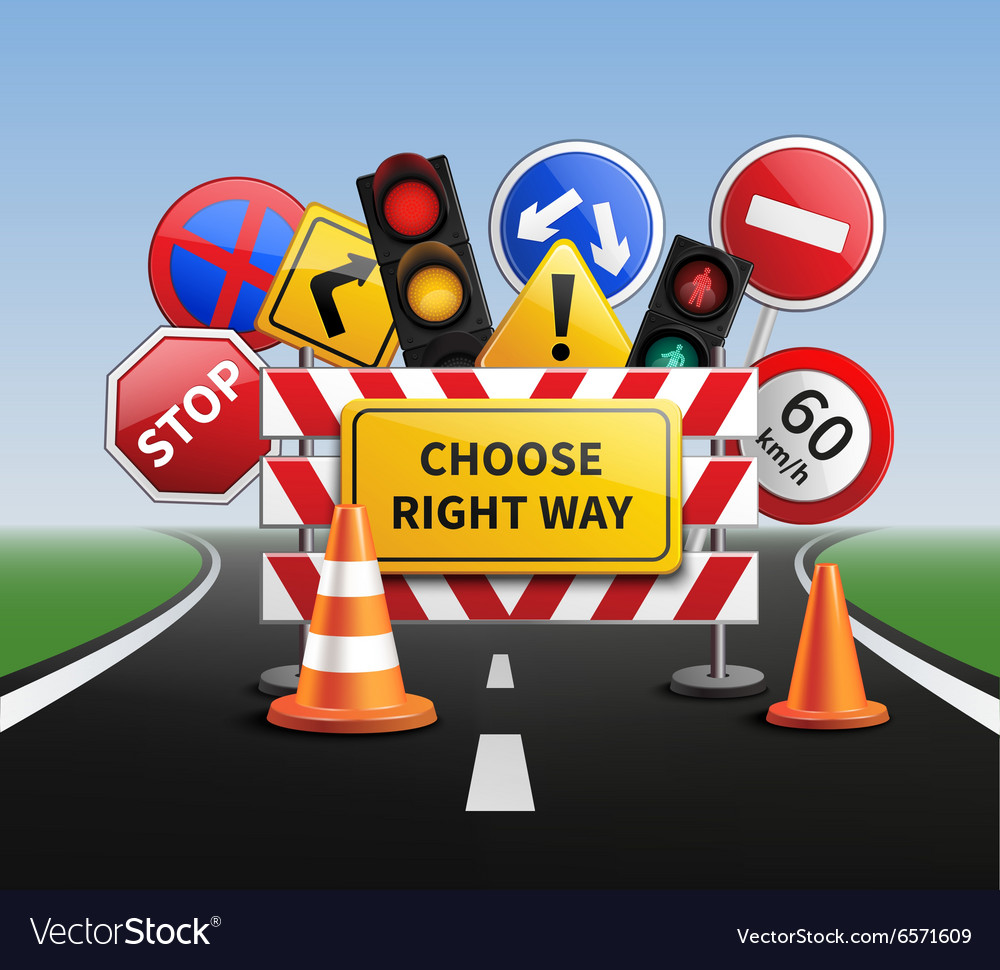 Choose right way realistic concept vector
