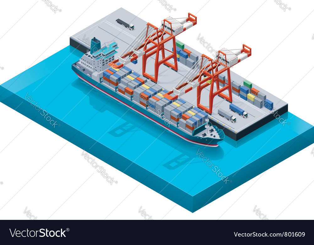 Container ship with cranes vector
