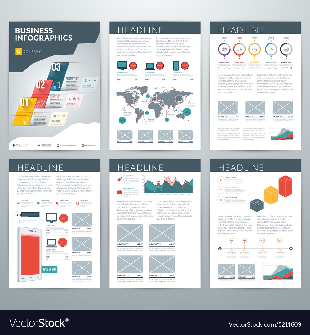 Infographics concept set of business infographic vector
