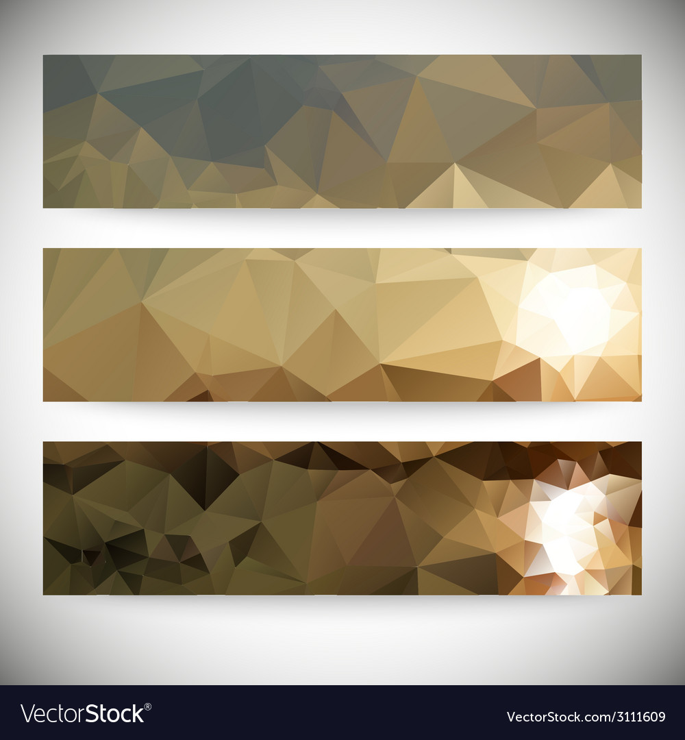 Set of horizontal banners mountains and sea vector