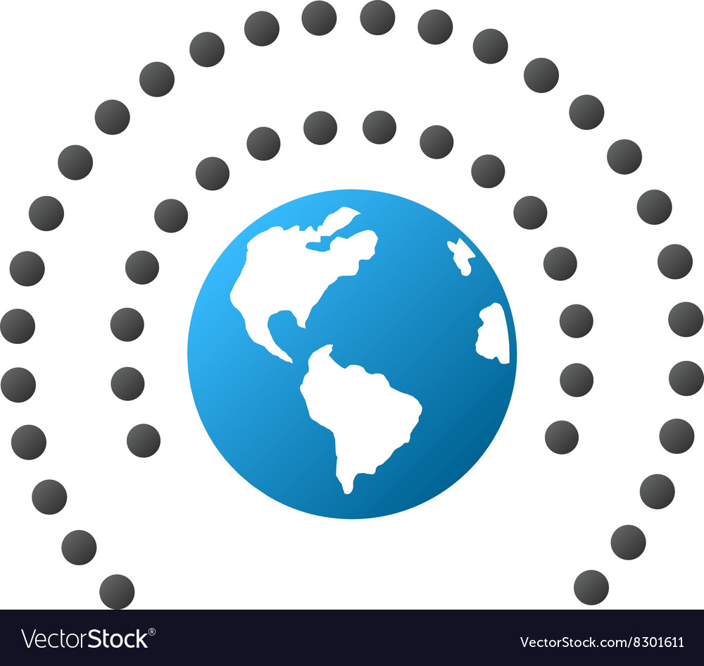 Earth sphere shield gradient icon vector