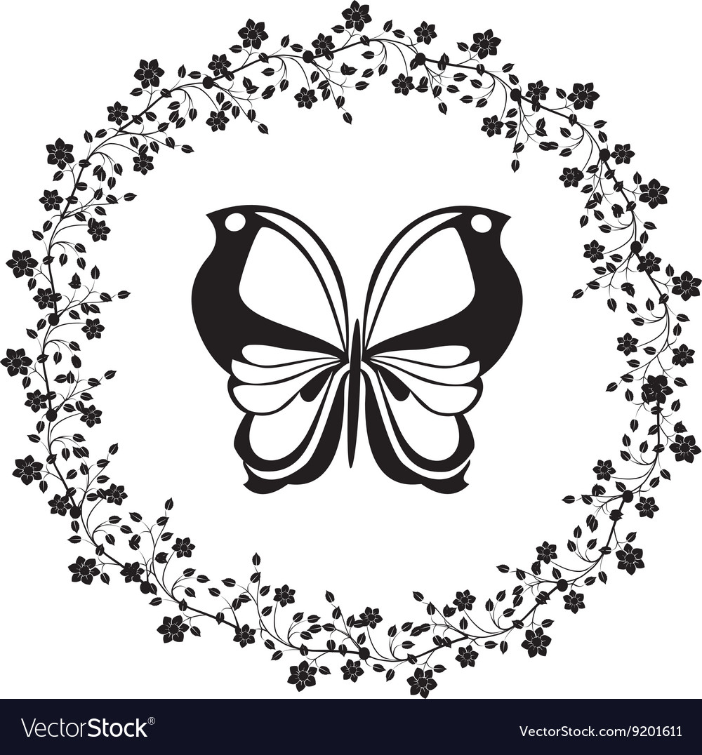 Flourishes vintage with butterfly vector