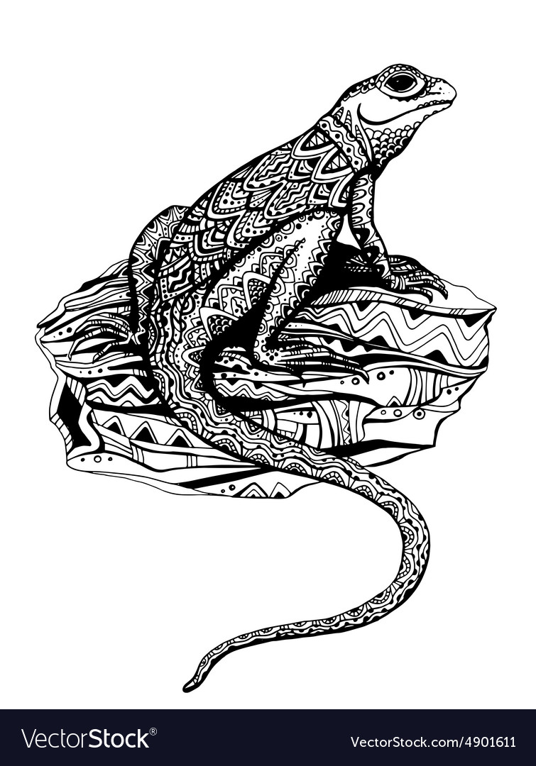 Ornate lizard with ethnic pattern in black and vector