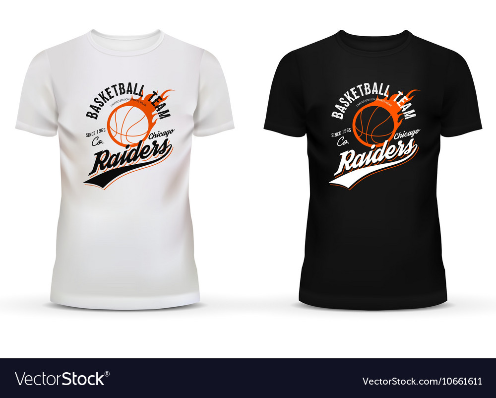 White and black tshirt with basketball ball and vector