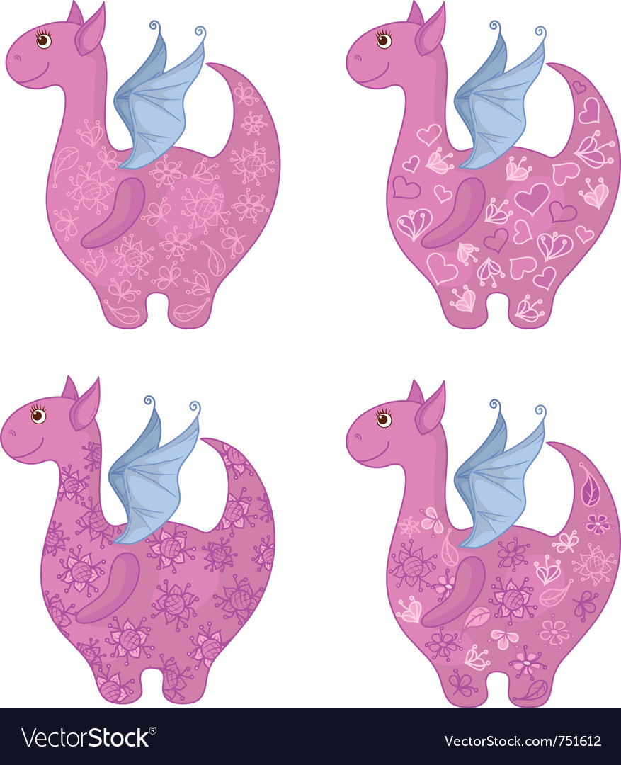 Dragons with patterns vector
