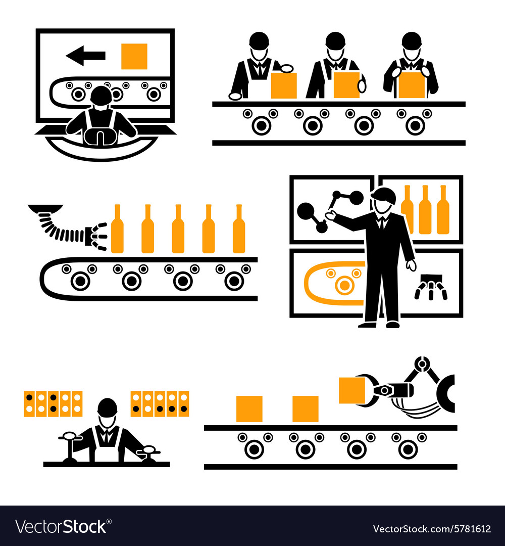 Factory production process icons vector