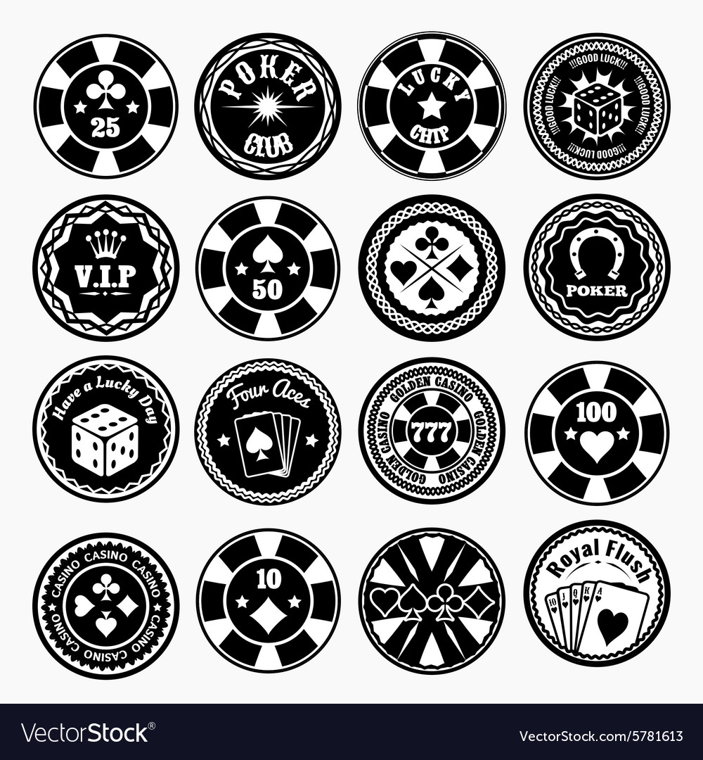 Poker club and casino black labels vector