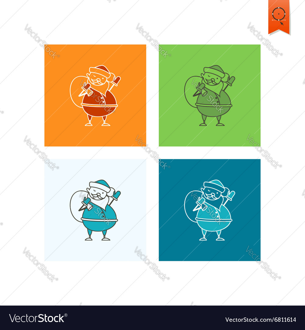 Cute santa claus with big gifts bag vector
