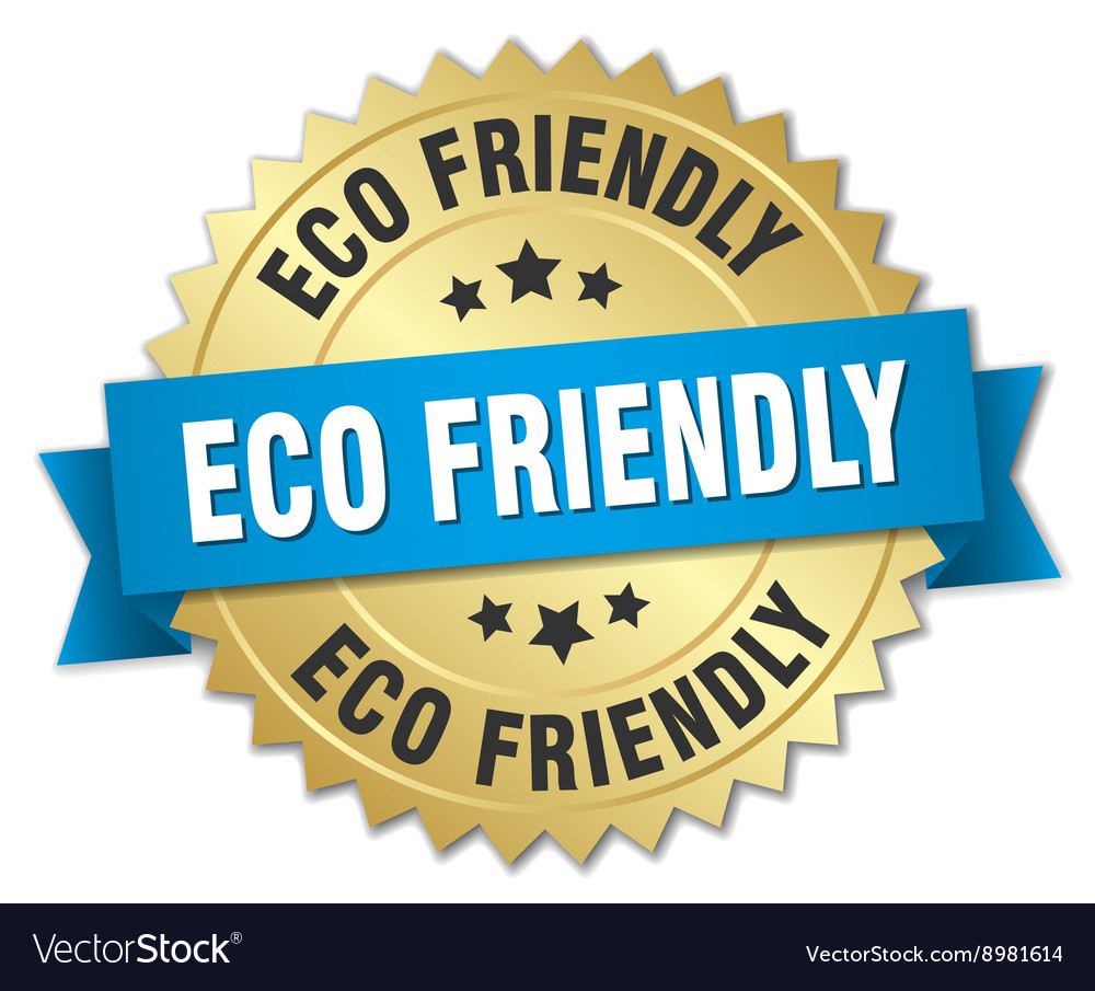 Eco friendly 3d gold badge with blue ribbon vector