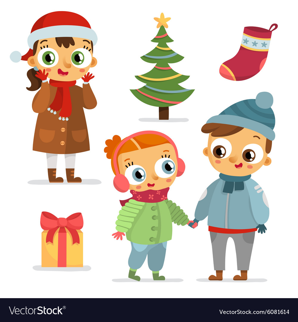Set of children characters and christmas symbols vector