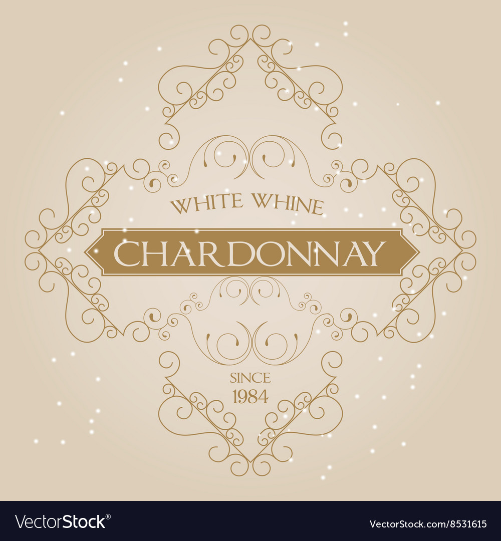 Vintage ornament white wine label template vector