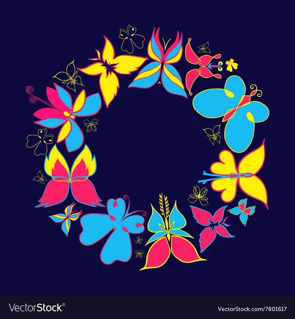 Butterfly round frame vector
