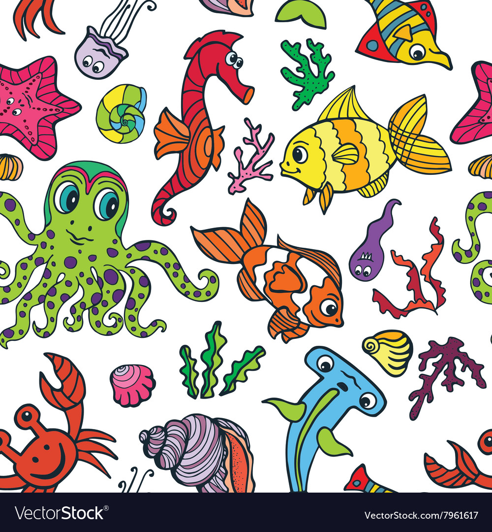 Cartoon funny fish sea life seamless pattern vector