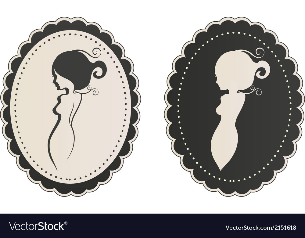 Lady body cameo vector