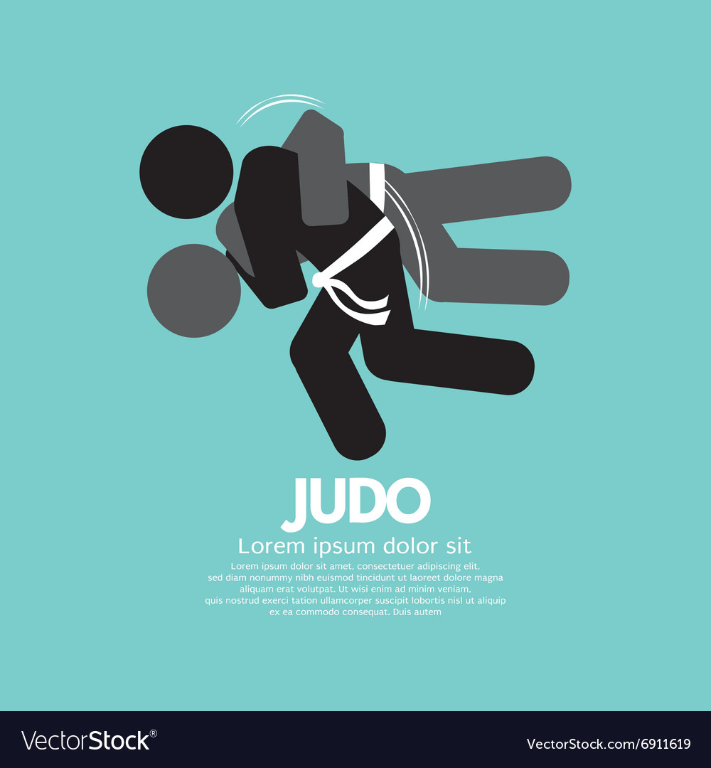 Black symbol judo fighter vector