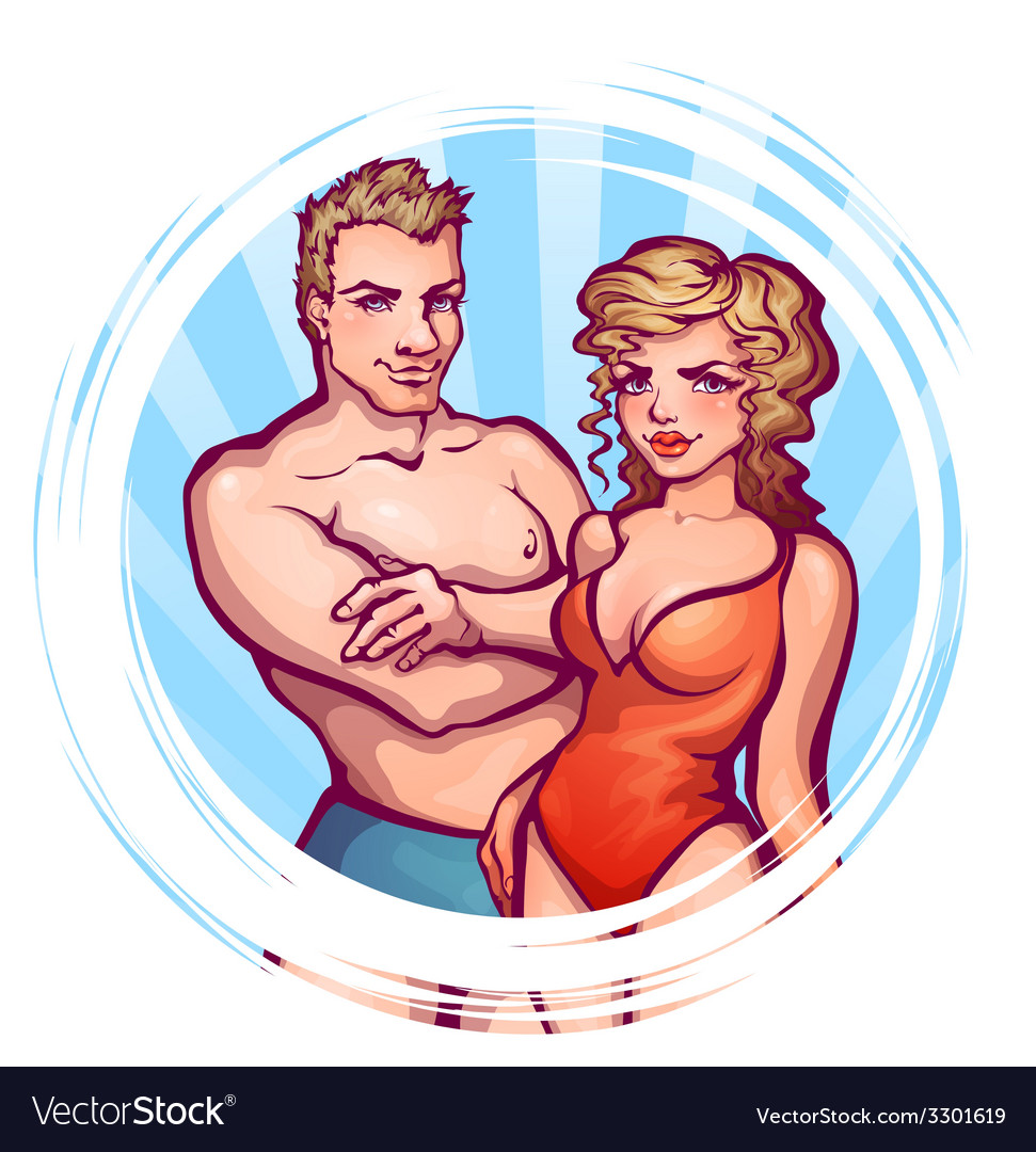 Man and women in swimsuit vector