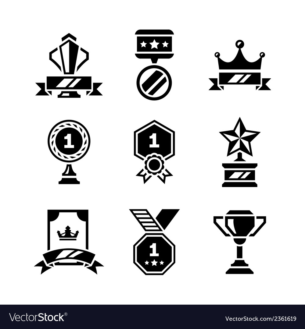 Set icons of awards and trophy vector