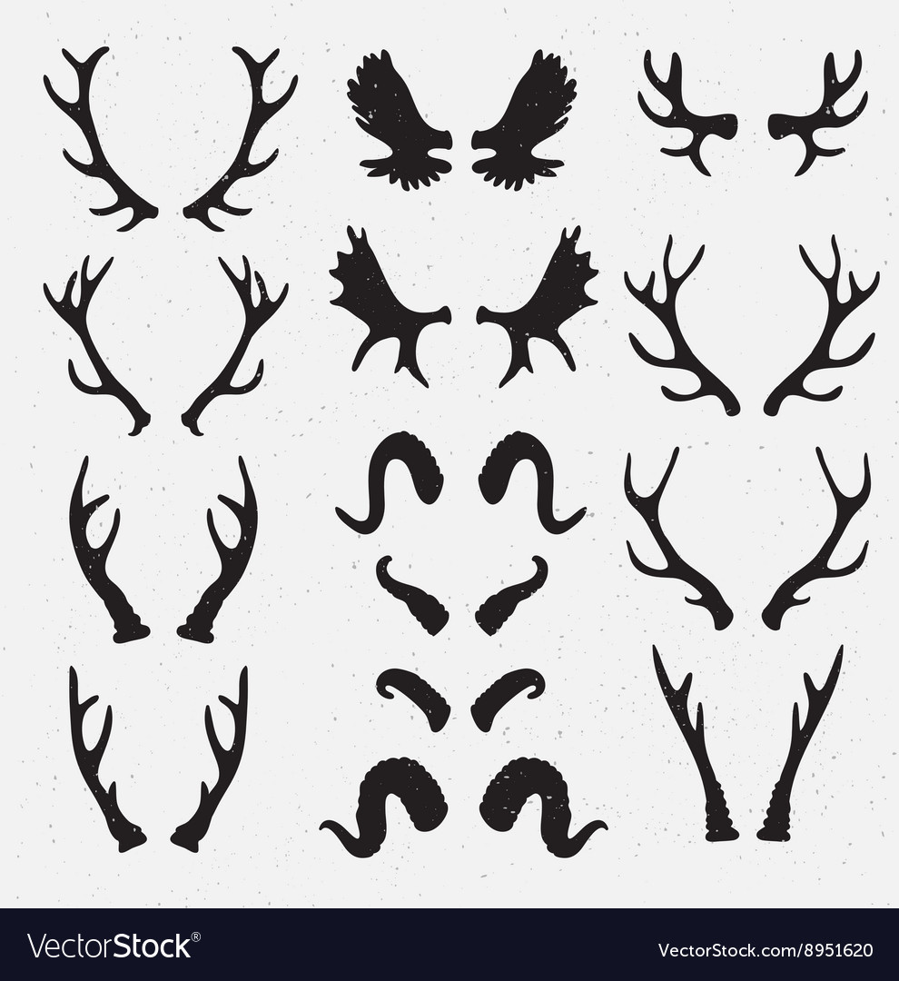 Horns set silhouette on the grunge hipster vector