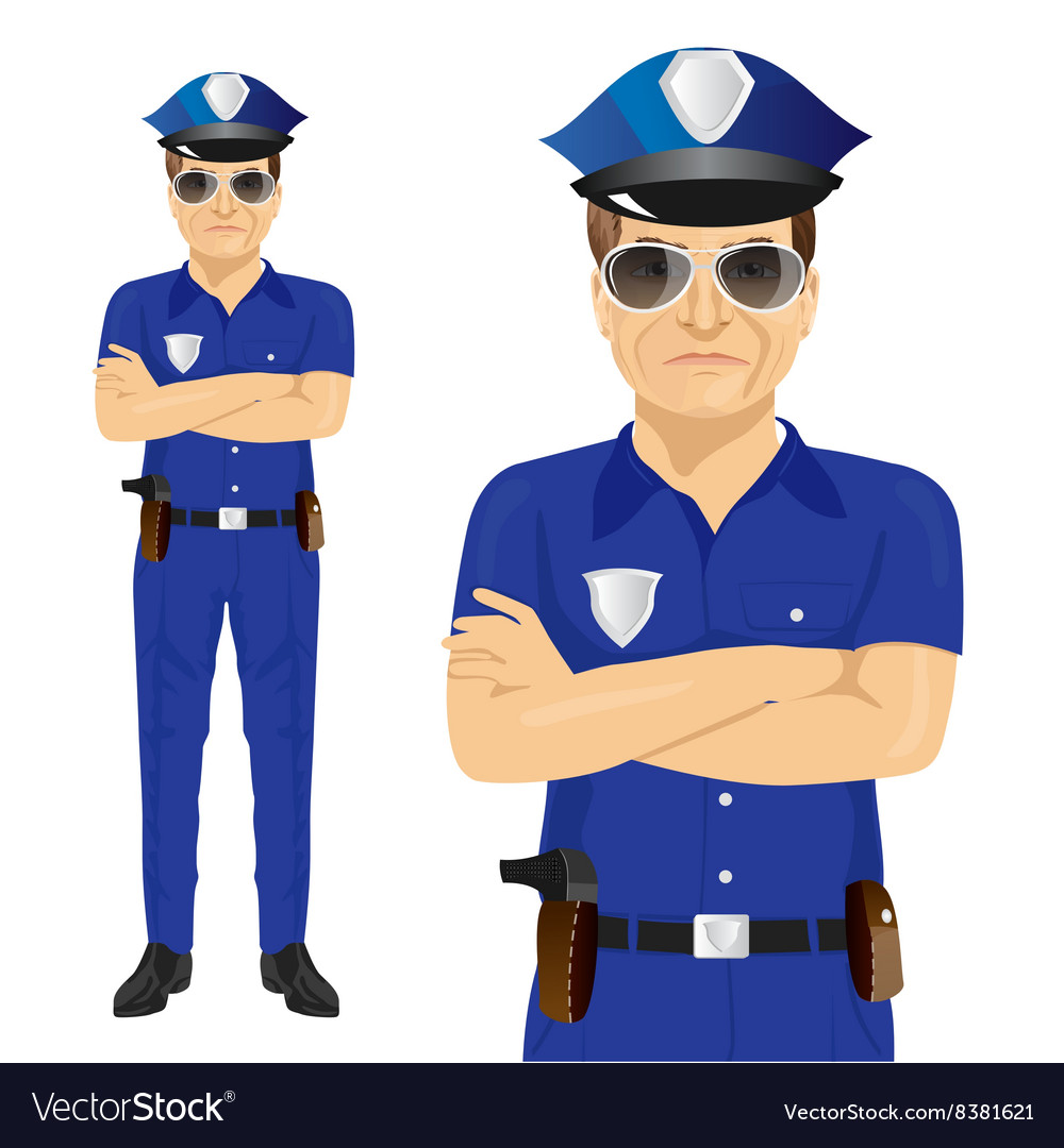 Handsome middleaged police officer vector