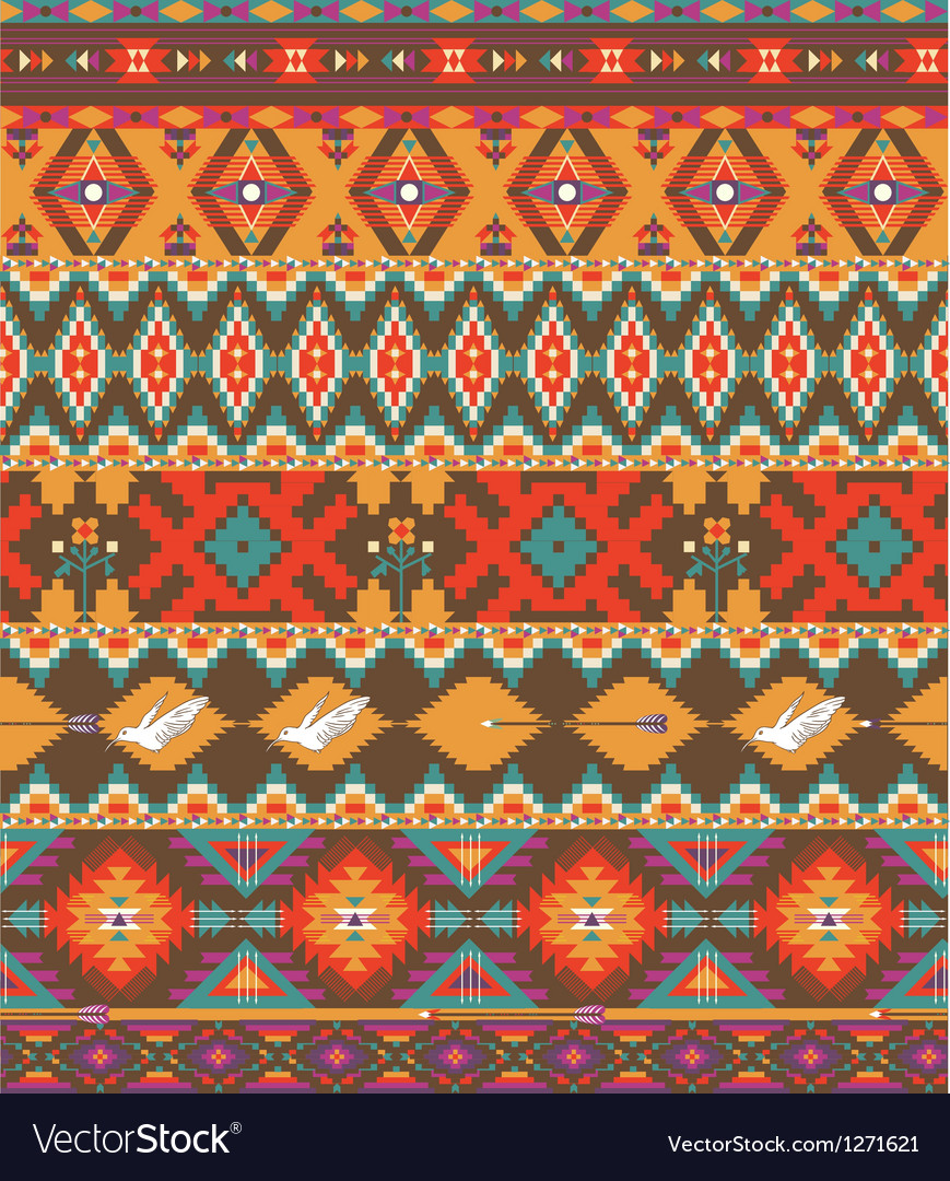 Seamless colorful aztec pattern vector