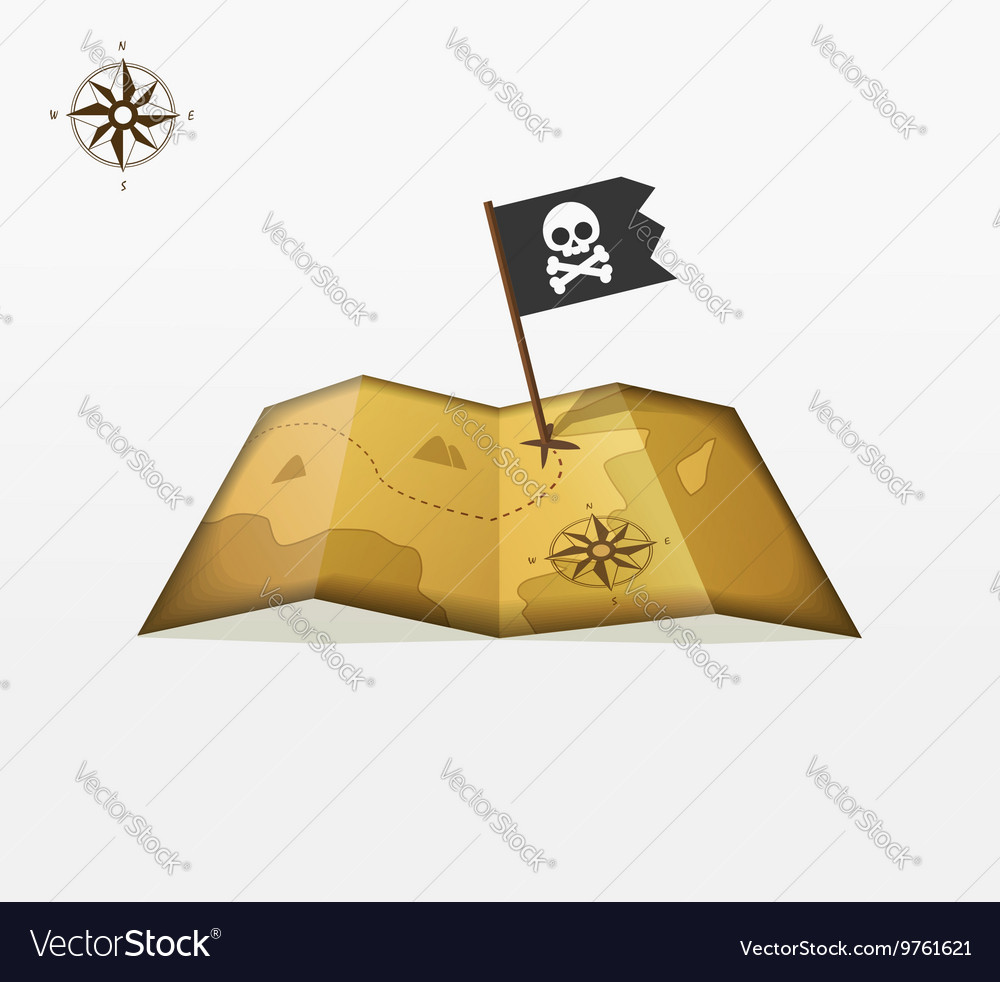 Treasure map with coordinates and pirate vector