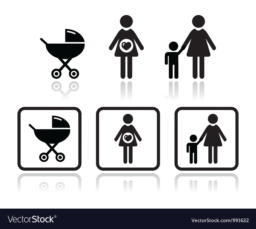 Baby icons set  carriage pregnant woman family vector
