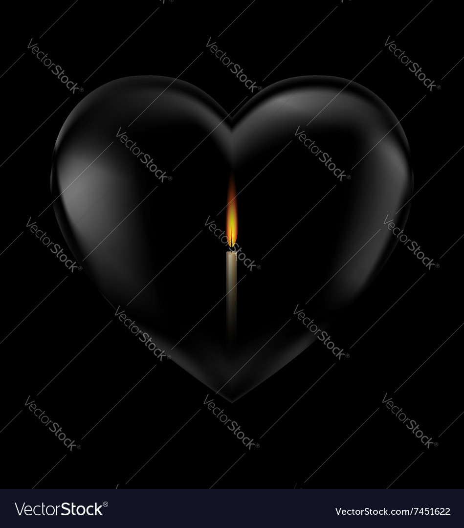 Black heart and candle vector