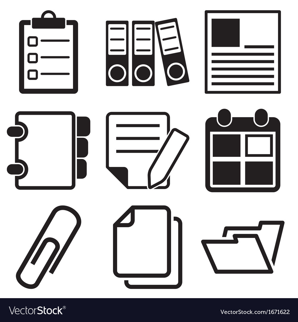 Document office icons vector