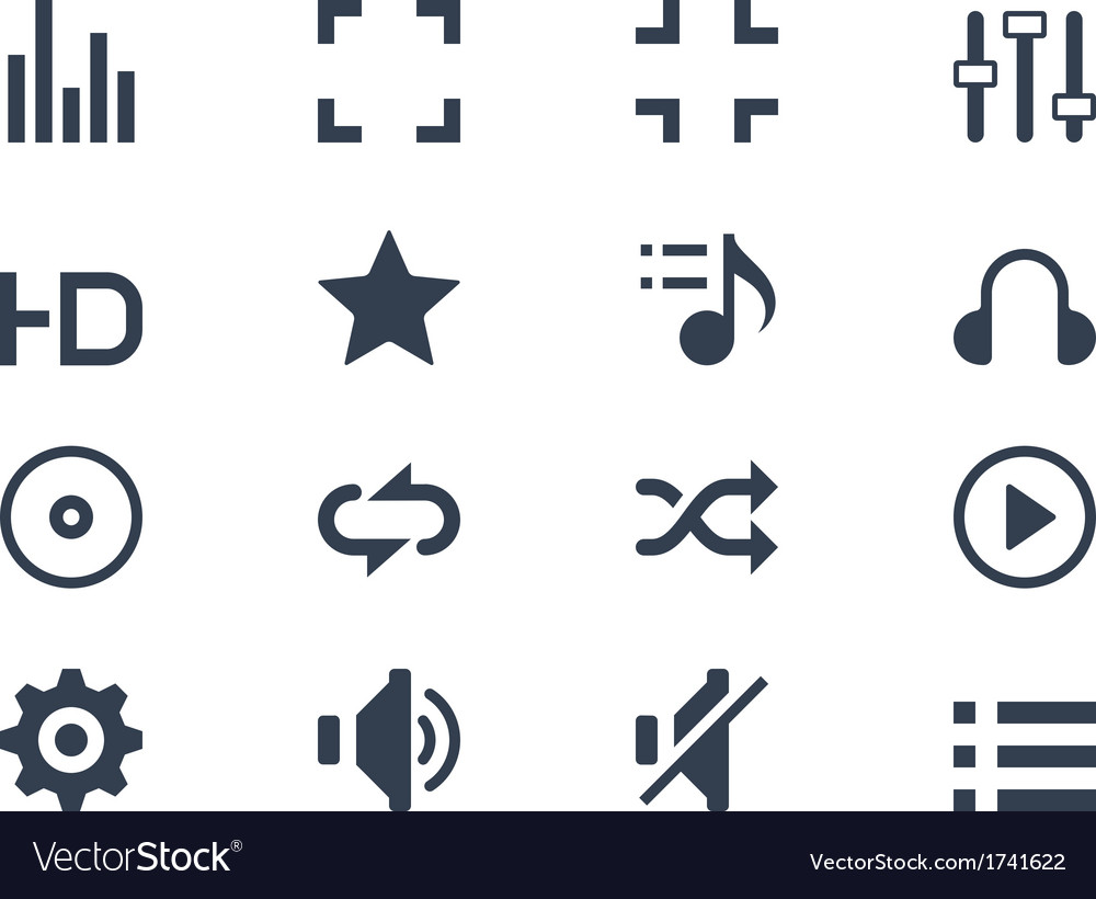 Media player icons vector