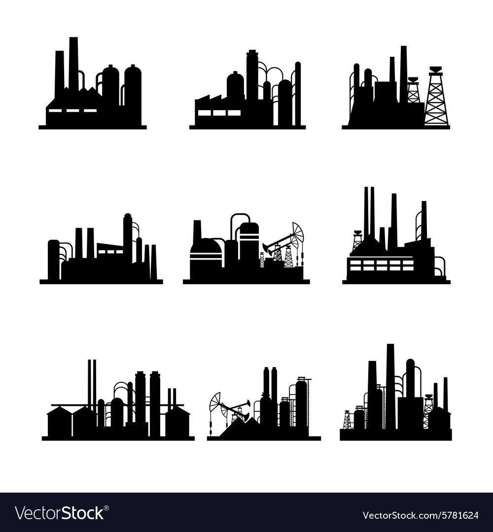 Oil refinery and oil processing plant icons vector