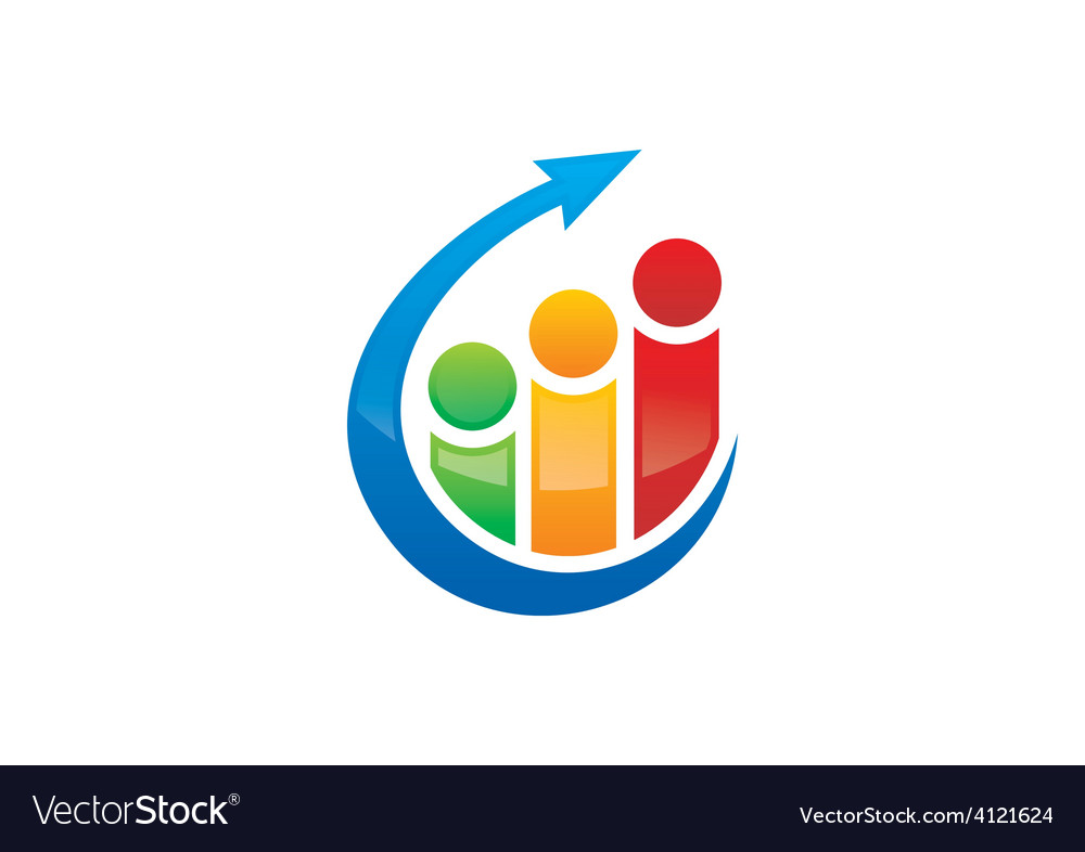 People finance graph arrow logo vector