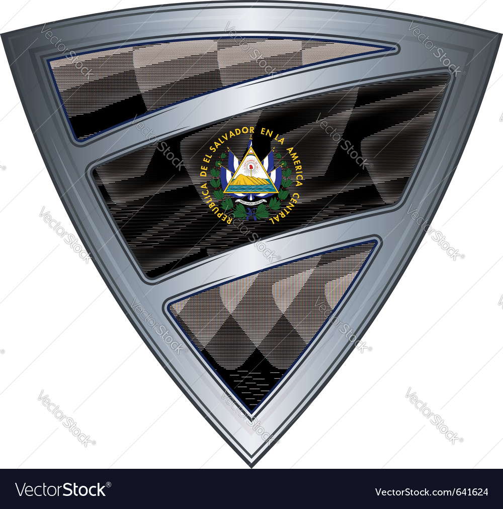 Steel shield with flag el salvador vector