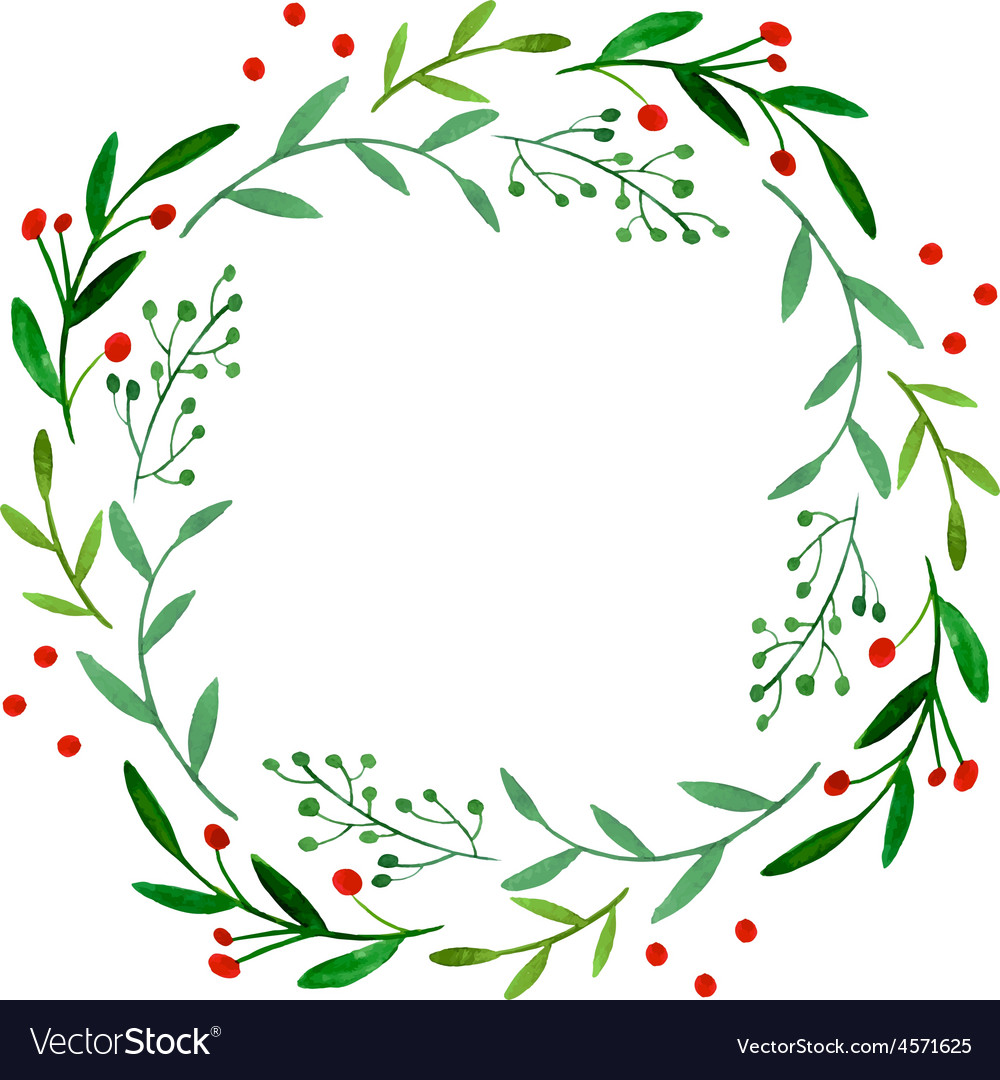 Watercolor wreath vector