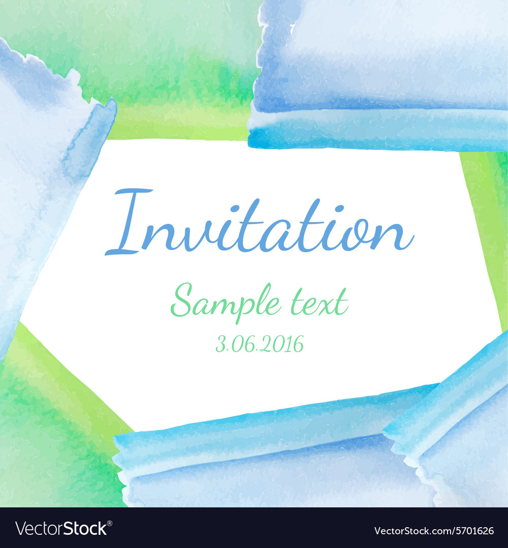 Invitation with watercolor background vector
