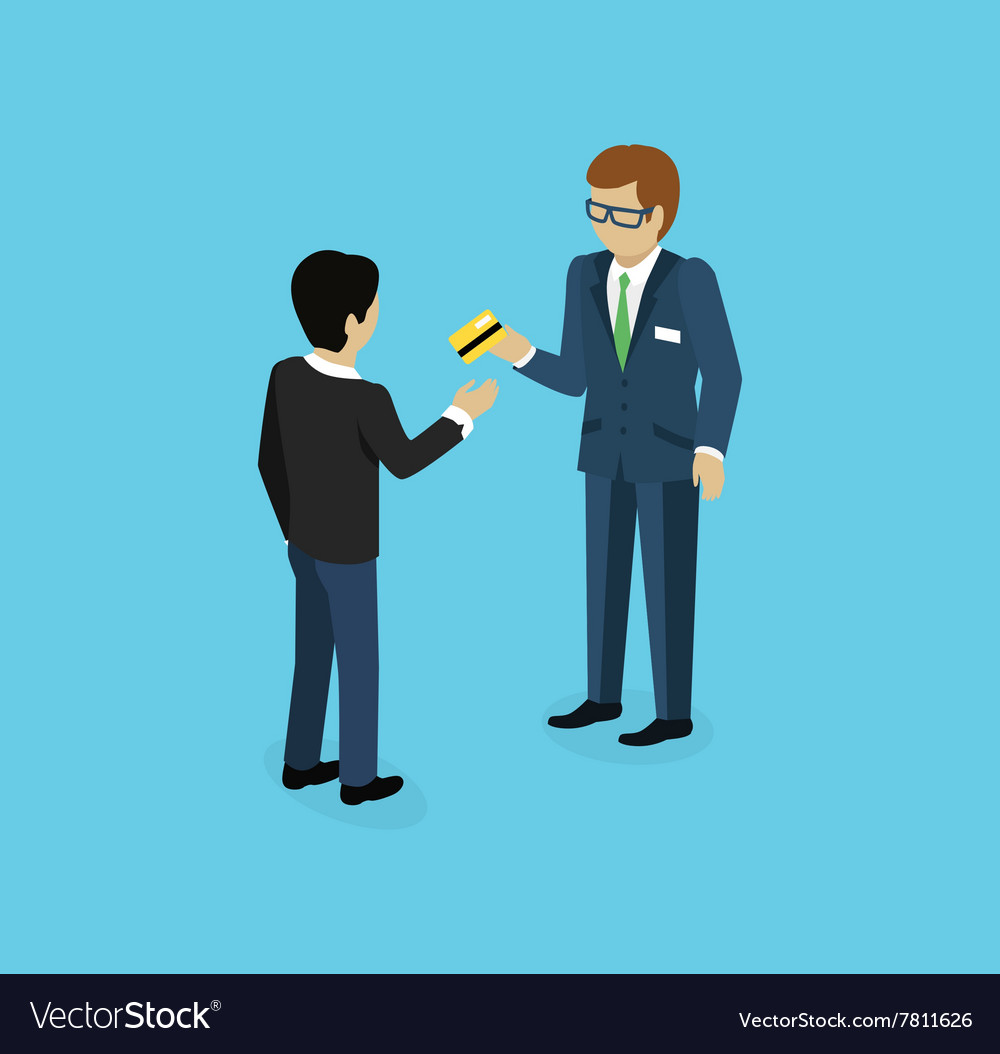 Man give credit card icon isometric vector