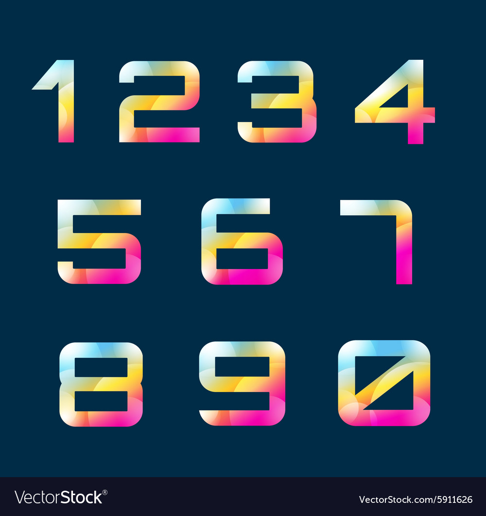 Numbers 19 letters vector