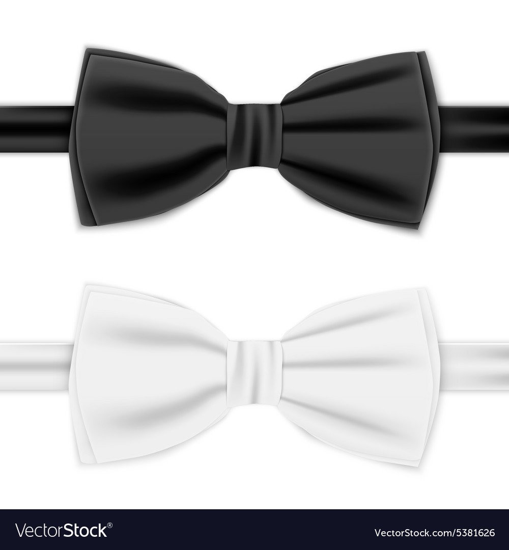 Realistic white and black bow tie vector