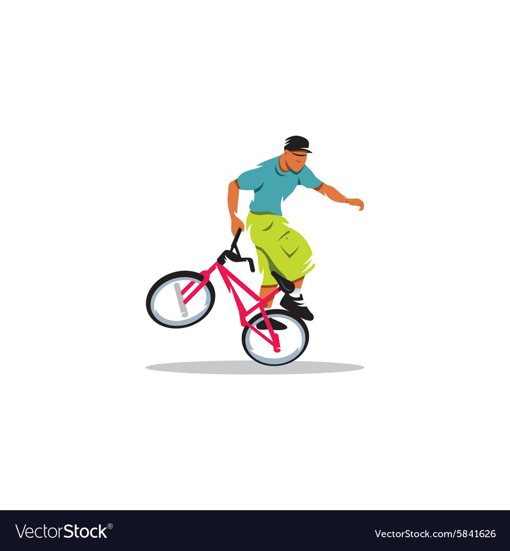 Young man carries out trick on a bicycle bmx vector