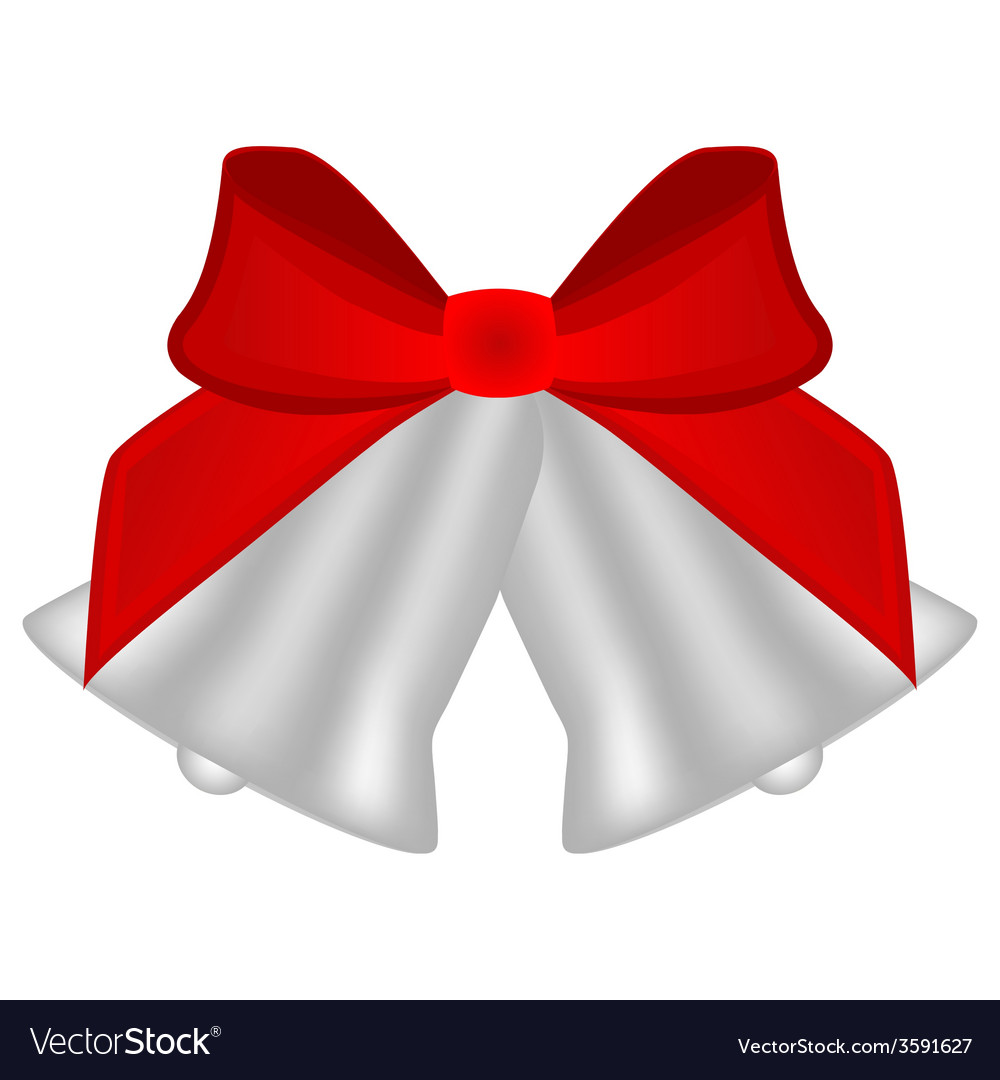 Christmas silver bells with red bow vector