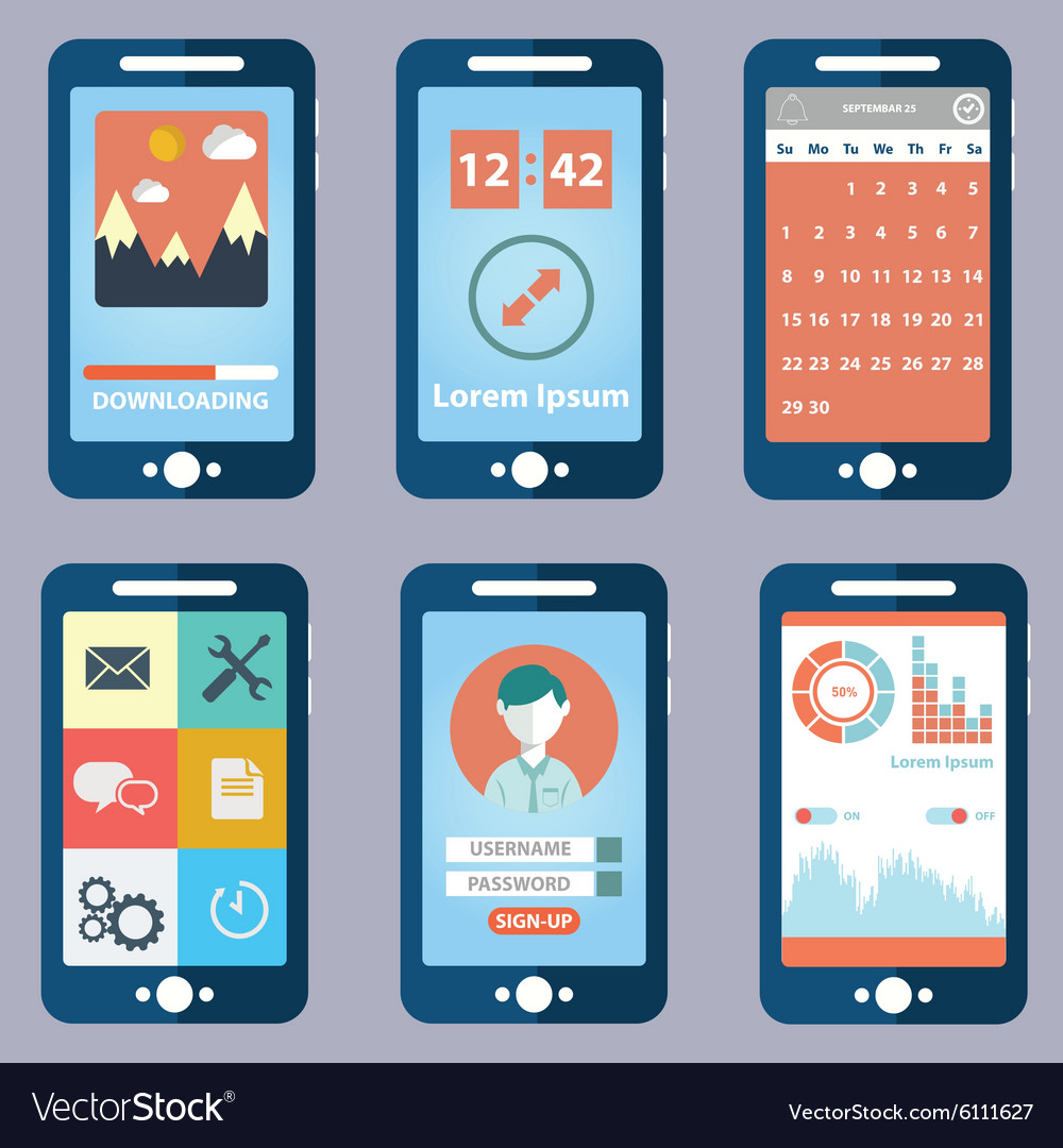 Flat collection of modern mobile phones with vector