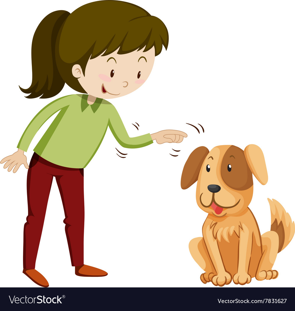 Little girl and puppy with happy face vector
