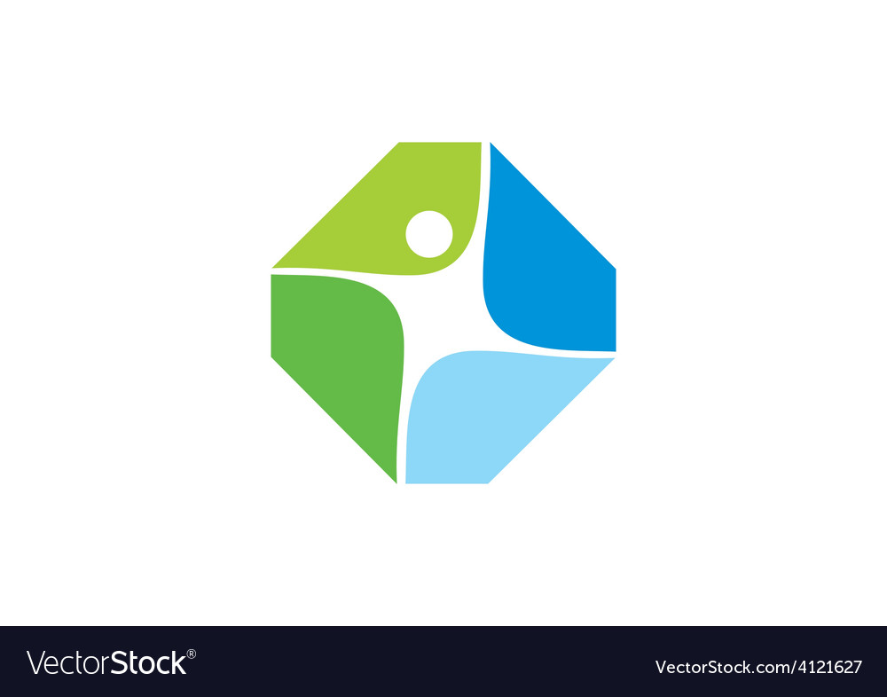 People fitness shape abstract logo vector