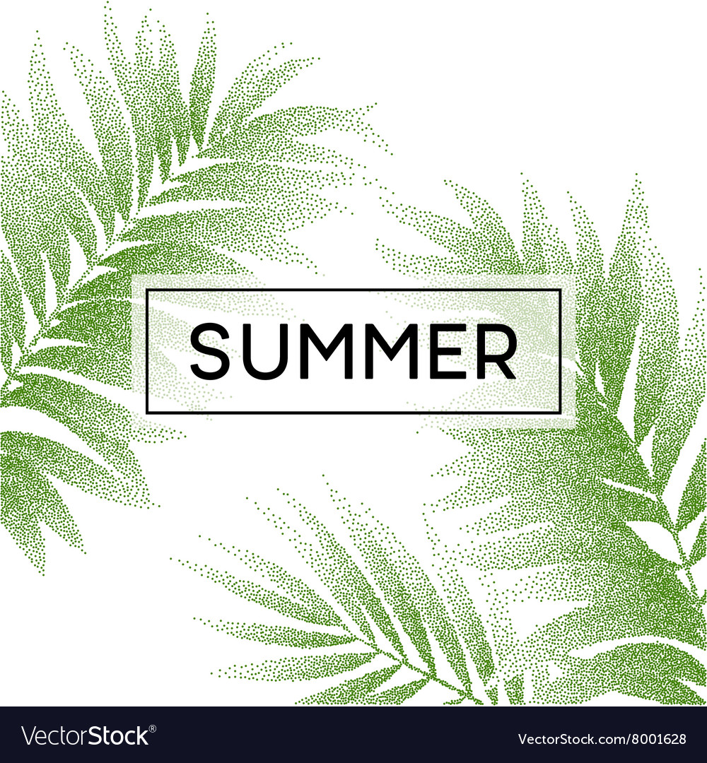 Tropical palm leaves design for text card vector