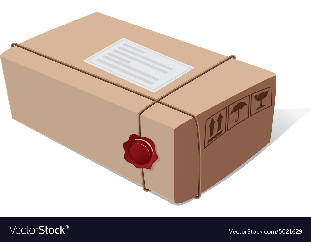 Postal mail box package with a wax seal and icons vector